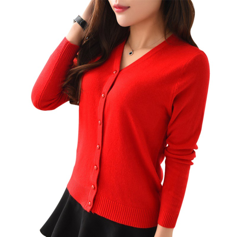Women Solid Long Sleeve Knit Cardigan Front Button Down Sweater ...
