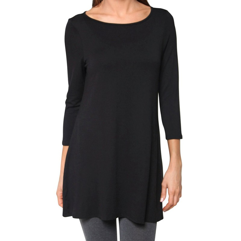 Womens dolman top boat neck 3 4 sleeve tunic long tops for Boat neck t shirt women s