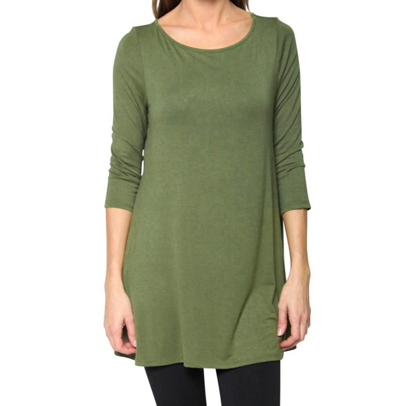 Casual women 39 s loose 3 4 sleeve cotton long t shirt tunic for Plus size 3 4 sleeve tee shirts