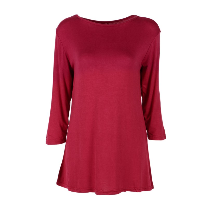 Fashion womens dolman top boatneck 3 4 sleeve tunic long for 3 4 sleeve t shirts plus size