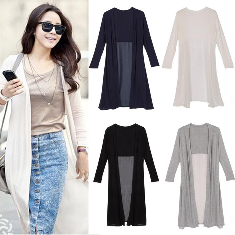 ddcbf90337 Details about Autumn Women Boho Chiffon Splice Long Maxi Cardigan Shirt  Coat Jacket Kimono Top