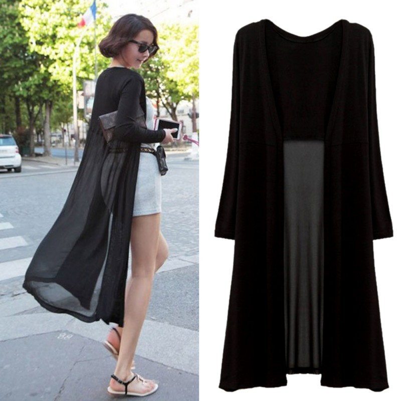 Women Casual Chiffon Open Cardigan Summer Long Sleeve Blouse Tops ...