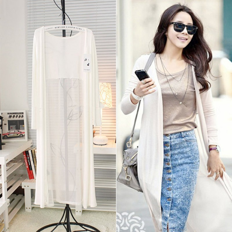 Women Long Sleeve Chiffon Cardigan Maxi Dress Casual Sunscreen ...