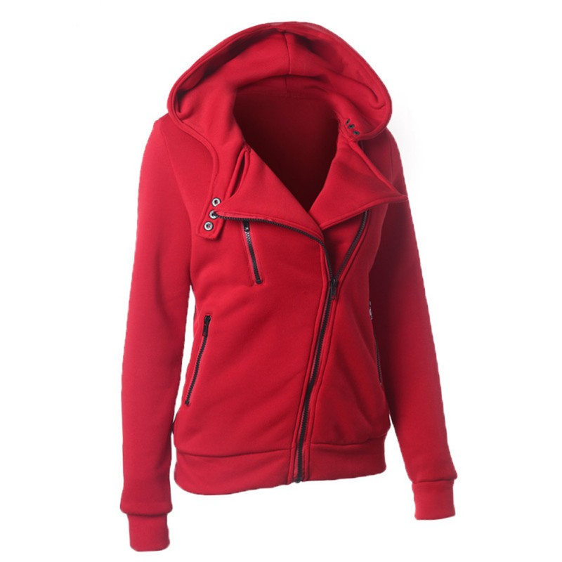 Fashion Women Slim Warm Hooded Sweatshirt Zipper Coat ...