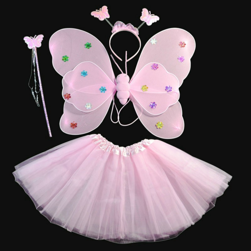Kids Girls Angel Fairy Butterfly Wings Party Princess Fancy Outfits