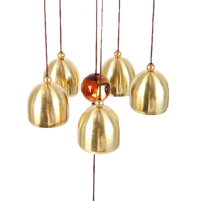 Home decor hanging copper alloy bells tubes garden yard for Outdoor hanging ornaments