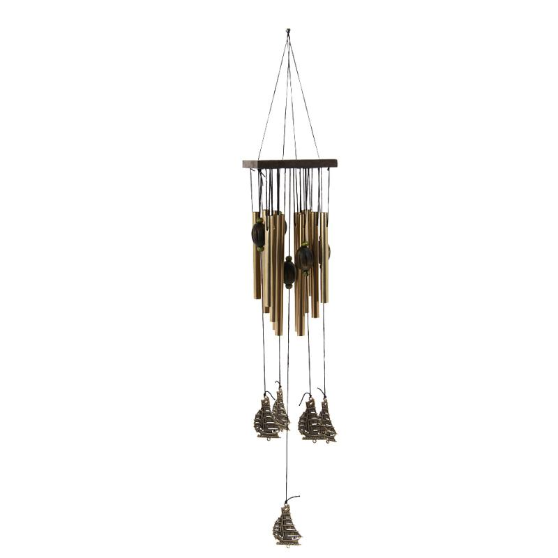 Lucky tube copper bell wind chimes garden hanging pavilion for Outdoor hanging ornaments