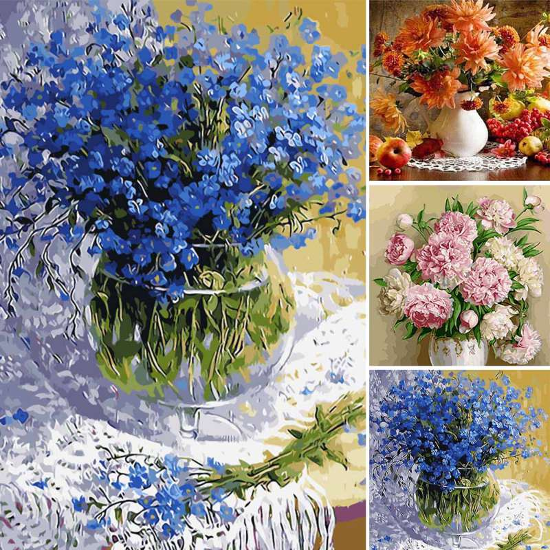Uk diy modern art original oil paintings wall art canvas for Diy flower canvas wall art