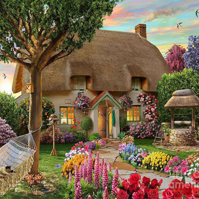 Diy 5d diamond embroidery painting landscape dream cottage for Cottage home decorations