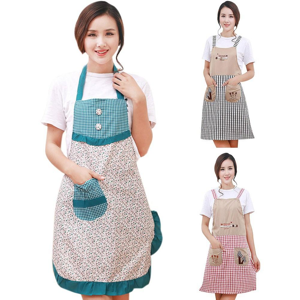 Fashion Women Bowknot Cooking Kitchen Restaurant Bib Apron ...