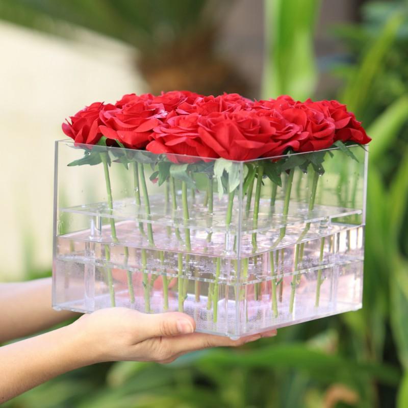 clear rose blumen organisator blumen box halter wassertank hochzeit brautjungfer ebay. Black Bedroom Furniture Sets. Home Design Ideas
