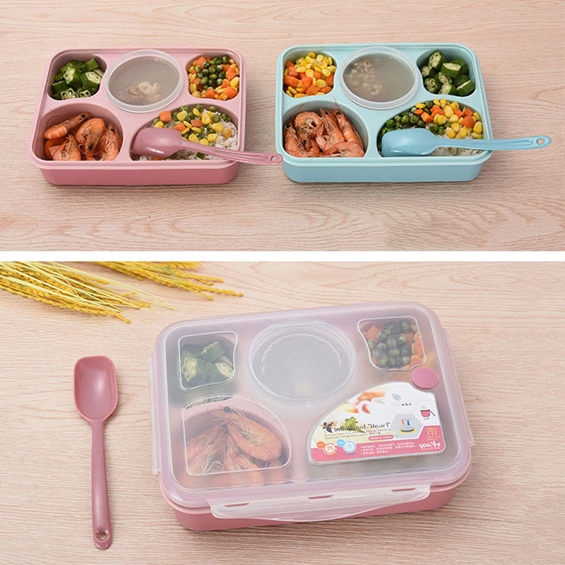 5 Grids Microwave Lunch Box Spoon Bowl Kitchen Dining Tablew