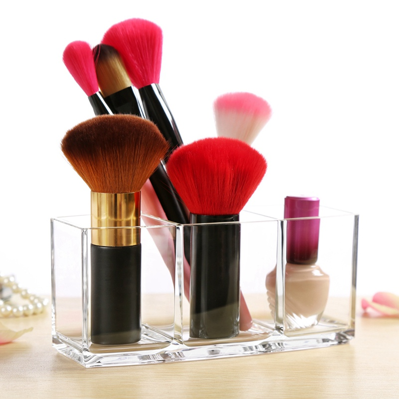 US 3 Slot Vencer Makeup Brush Holder Organizer Acrylic Cosmetics Brush Storage 5