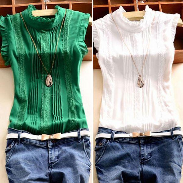 c588bae5e170e Details about Women Lady Summer Casual Sleeveless Ruffled Top Lace Blouse  Tank Tops T-Shirt UK