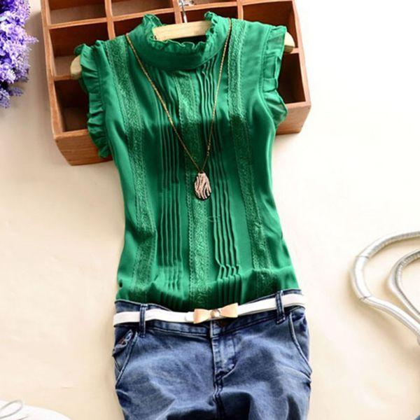 Retro-Style-Women-Reffle-Shirt-Chiffon-Blouse-Office-Lady-Casual-Summer-Top