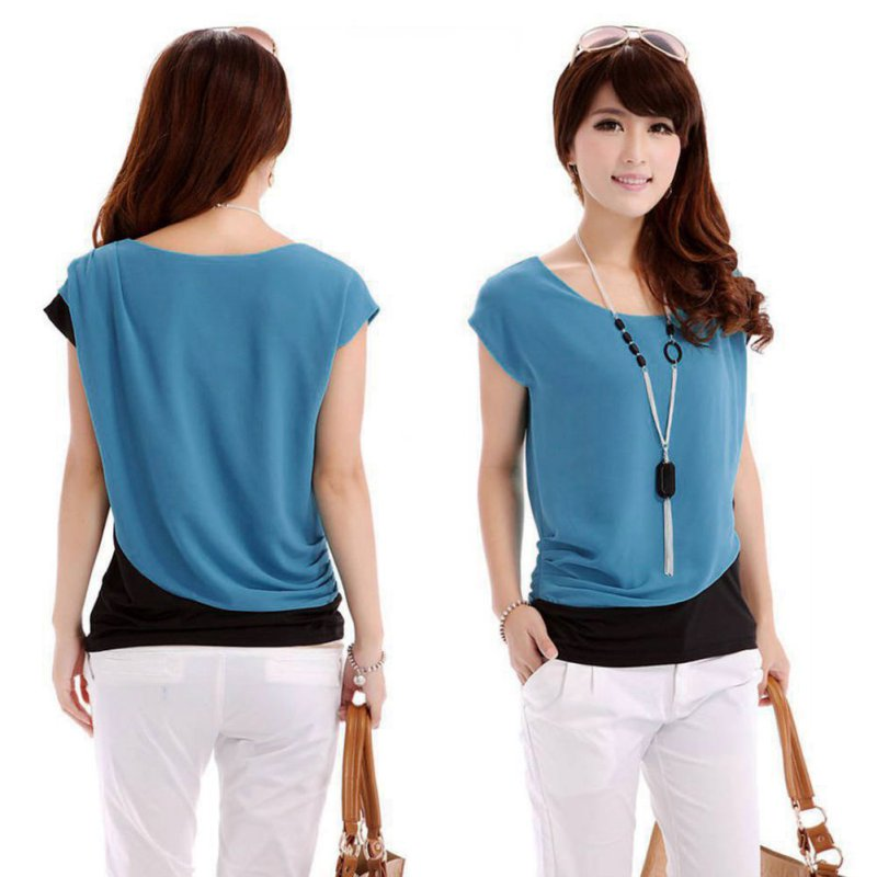 women loose chiffon tops short sleeve fashion t shirt casual blouse 9 styles lot ebay. Black Bedroom Furniture Sets. Home Design Ideas