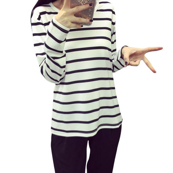 Women black white striped long sleeve cotton t shirt girls for White cotton long sleeve t shirt