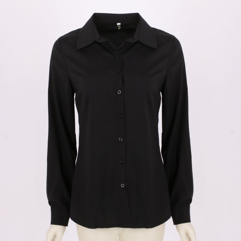 Womens ladies stylish long sleeve lapel shirt ol button for Athletic fit button down shirts