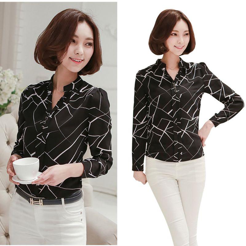 9068edea Women Summer Chiffon Work Wear Button Down Shirt Office Blouse ...