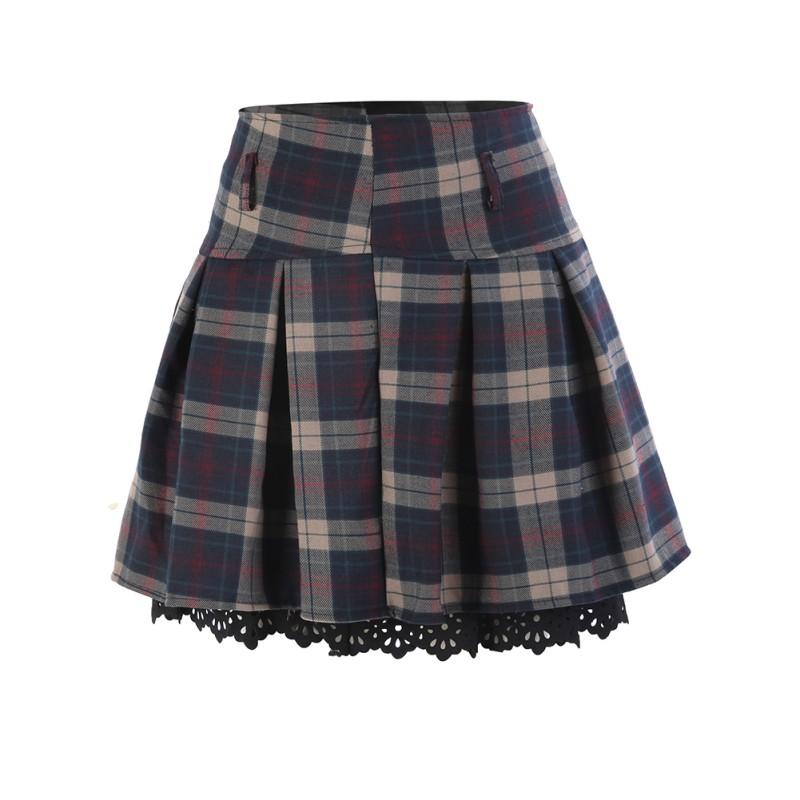 Sweet-Women-Mini-Skirt-Plaid-Skirts-Casual-High-Waist-Ruffle-Pleated-Short-Dress