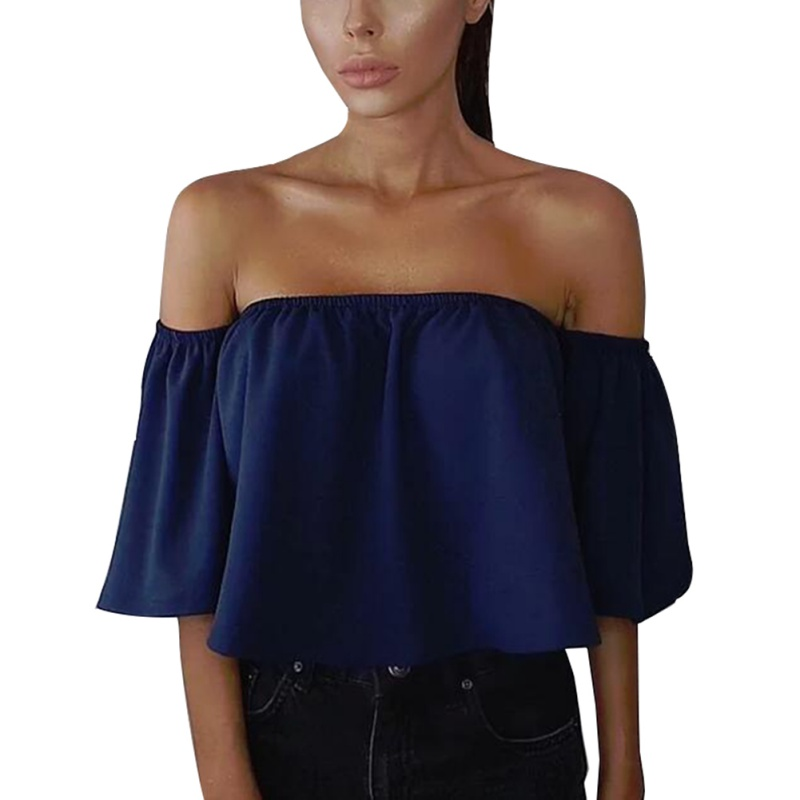 Women-Off-Shoulder-Lace-Strapless-Chiffon-T-Shirt-Casual-Loose-Top-Tank-Blouse