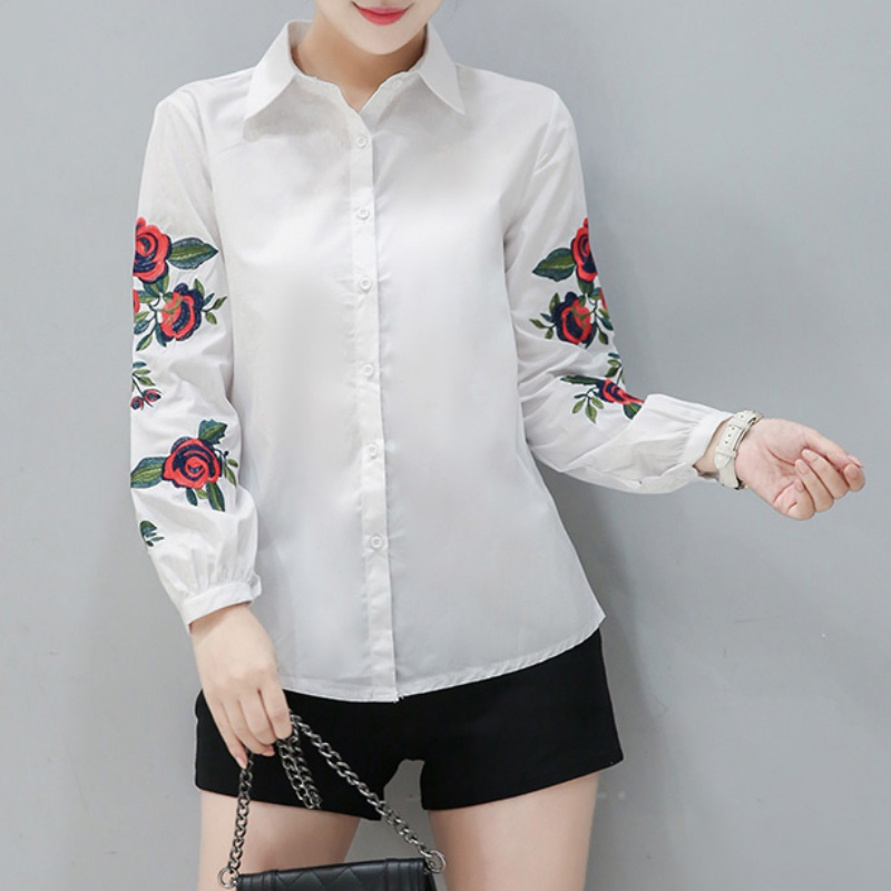 floral embroidered off-the-shoulder flounce top NAVY Women Blouse & Shirts  IT8387 0luqCCyX