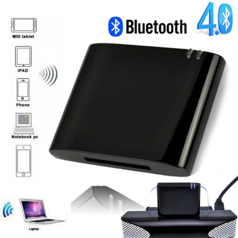 For iPod iPhone A2DP Bluetooth Music Audio 30 Pin Receiver Adapter Speaker Dock