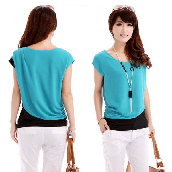 Women Lady Chiffon Blouse Short Sleeve Shirt T-shirt Summer Blouse ...
