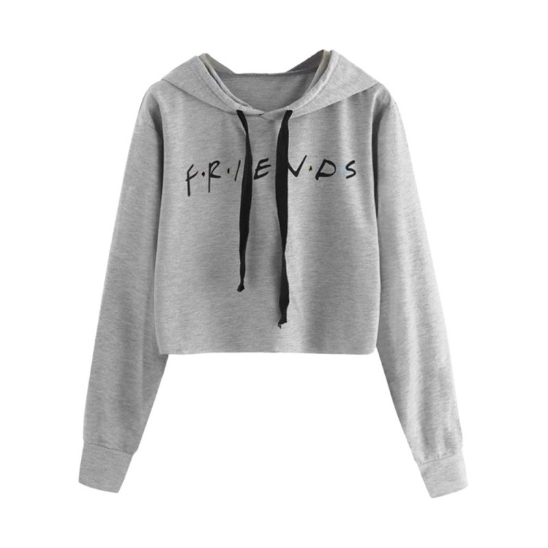 e12a8b57 Details about Fashion Women Friends Letter Printed Casual Pullover Hoodie  Crop Top Sweatshirt