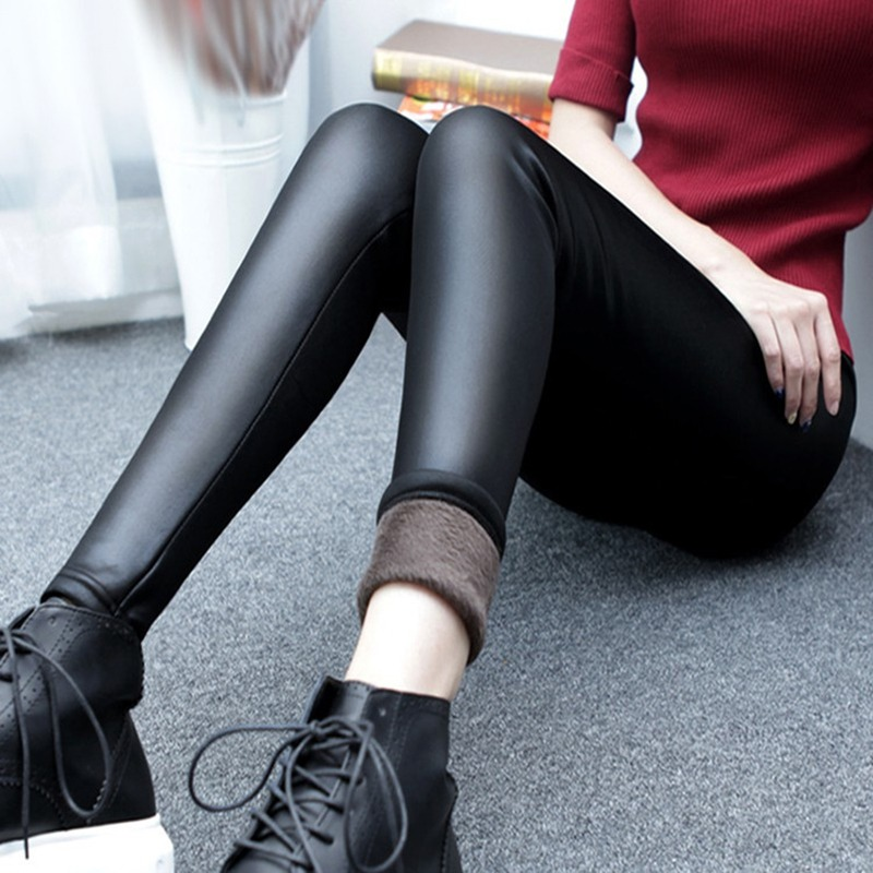 Women-Winter-Thick-Warm-Leather-Leggings-Stretch-Skinny-Pants-Trousers-Footless