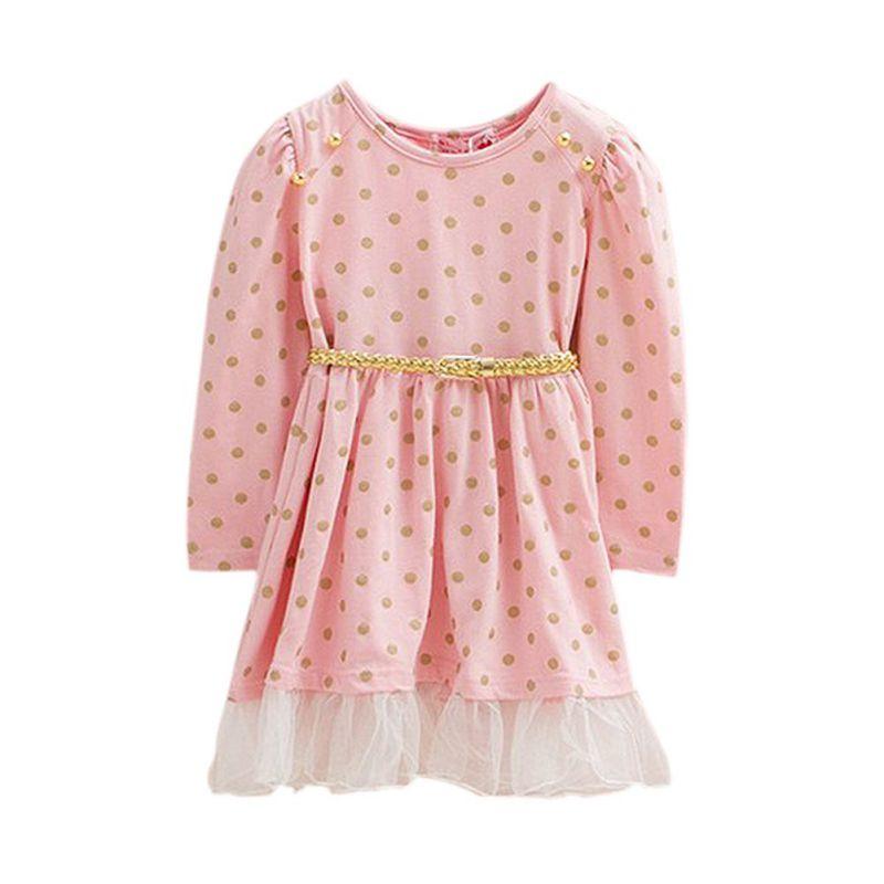 New Baby Girls Princess Long Sleeve Tutu Polka Dot Dress