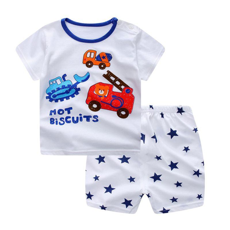 Summer Baby Girls Boys Short Sleeve T-shirt+Shorts Pants ...