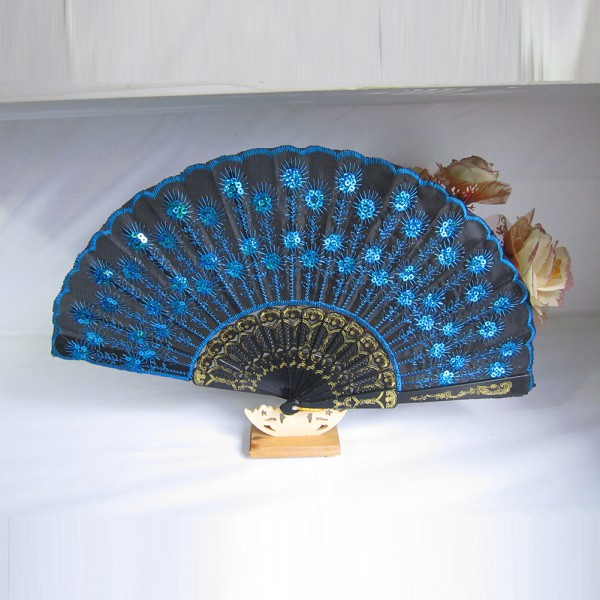 fashion chinese peacock silk folding hand held fan tail. Black Bedroom Furniture Sets. Home Design Ideas