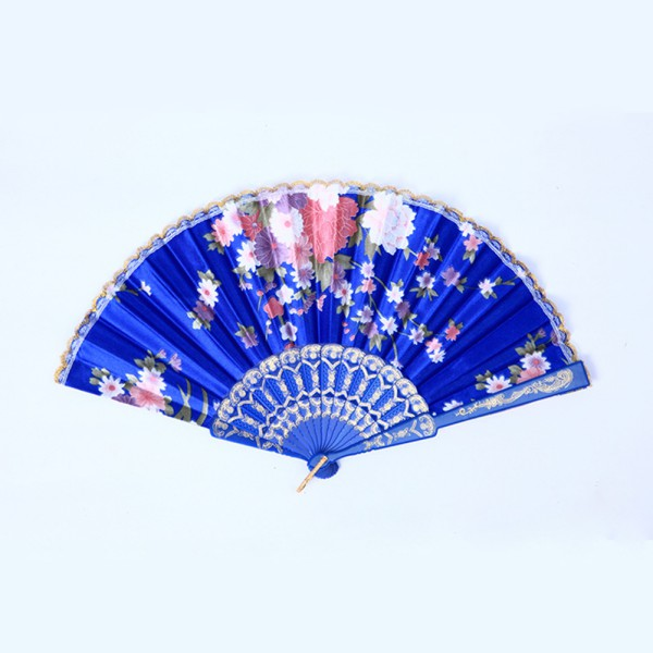Hand Held Fans : Wholesale hand held fan lace flower floral fabric folding