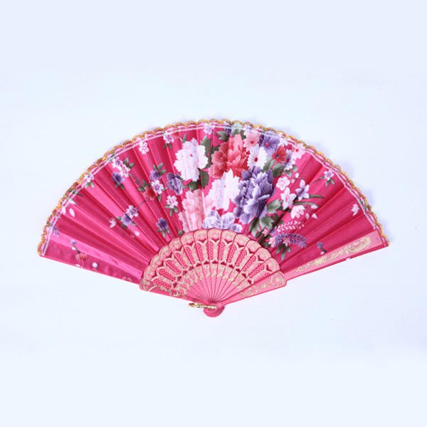 Hand Held Fans : Colorful flower pattern hanging pocket paper fans decor