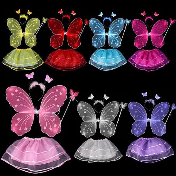 4Pcs Kids Baby Girls Fairy Costume Set Headband Butterfly Wings Wand Tutu Skirt