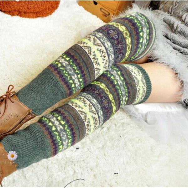 0d192231f Women Winter Warm Leg Warmer Sleeve Knit Knitted Crochet Boho High ...