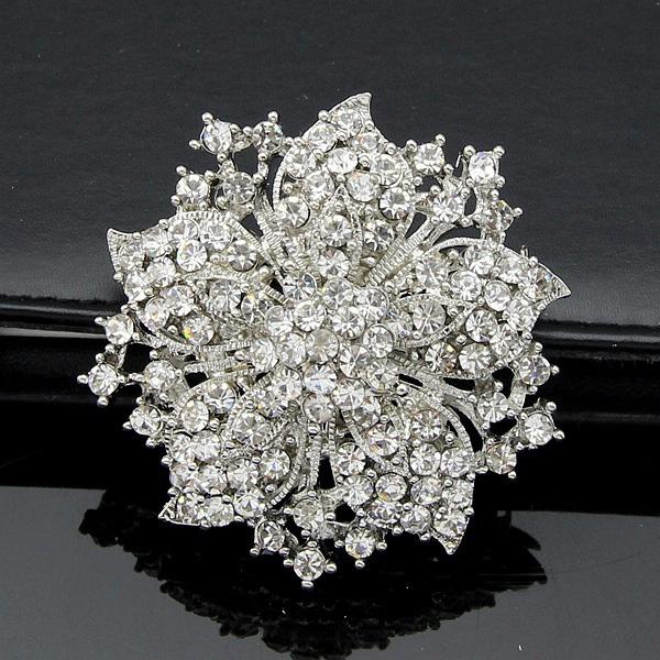 Women Silver Brooch Pin Rhinestone Crystal Flower Pin Wedding ...