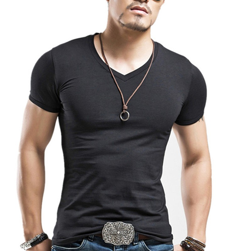 Fashion men 39 s casual tops t shirt short sleeve v neck slim for Men slim fit shirts