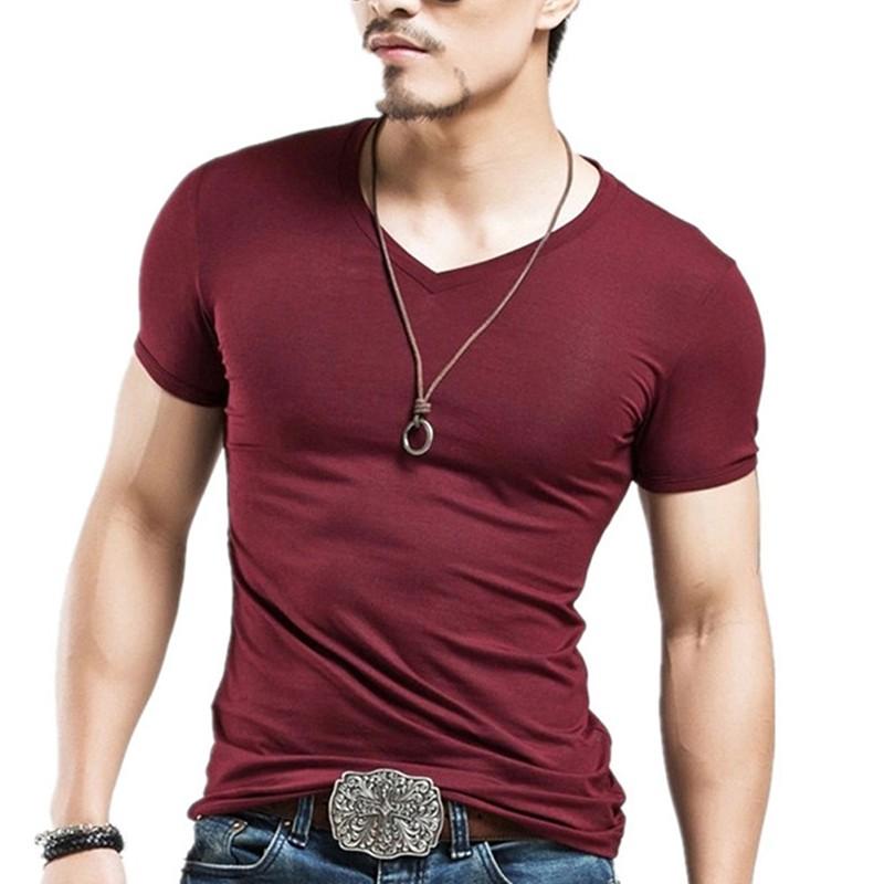 Fashion Men 39 S Casual Tops T Shirt Short Sleeve V Neck Slim