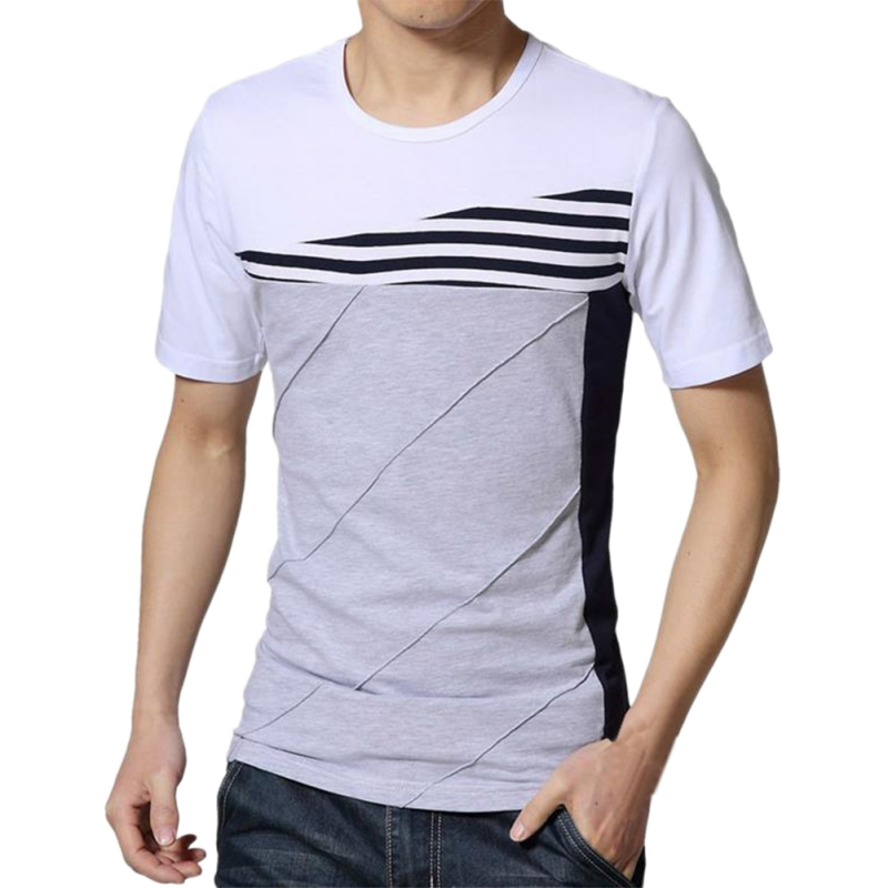 Men-Casual-Round-Neck-Splicing-T-shirt-Short-Sleeve-Slim-Fitness-Cotton-Shirts