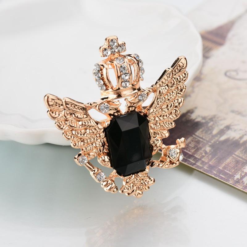 Fashion Men Women Crystal Diamond Crown Metal Badge Brooch