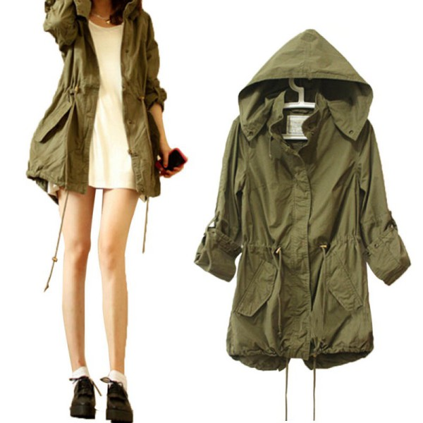 Fashion Women Hoodie Drawstring Army Green Military Trench ...