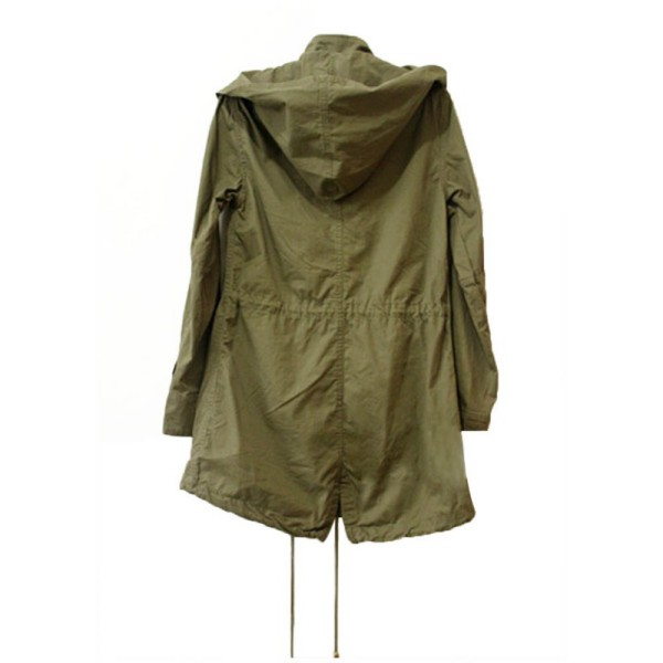 Very Fashion Women Hoodie Drawstring Army Green Military Trench Parka  JL48