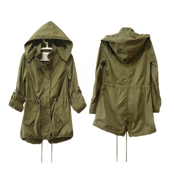 Fashion Women Hoodie Drawstring Army Green Military Trench Parka ...