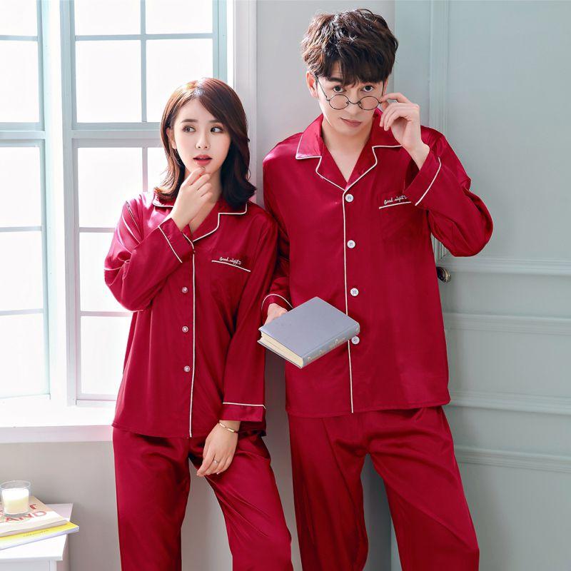 1c9a514920d7 Details about Plus Size Couple Women Men Silk Satin Night Sleep Pajamas  Long Sleeve Sleepwear