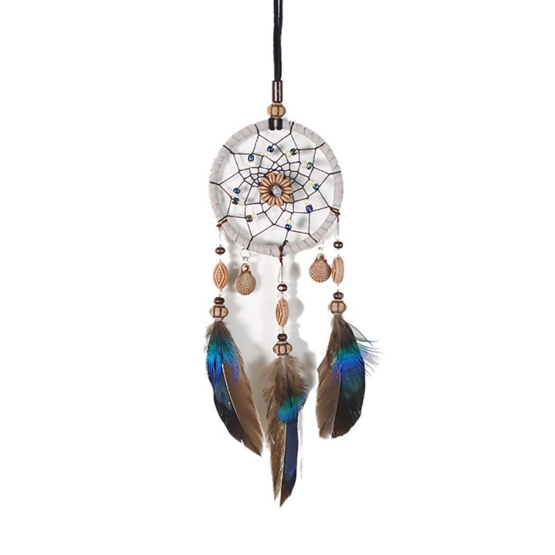 AU1X-Black-Handmade-Dream-Catcher-with-Feather-Bead-Hanging-Decora-Car-Ornament