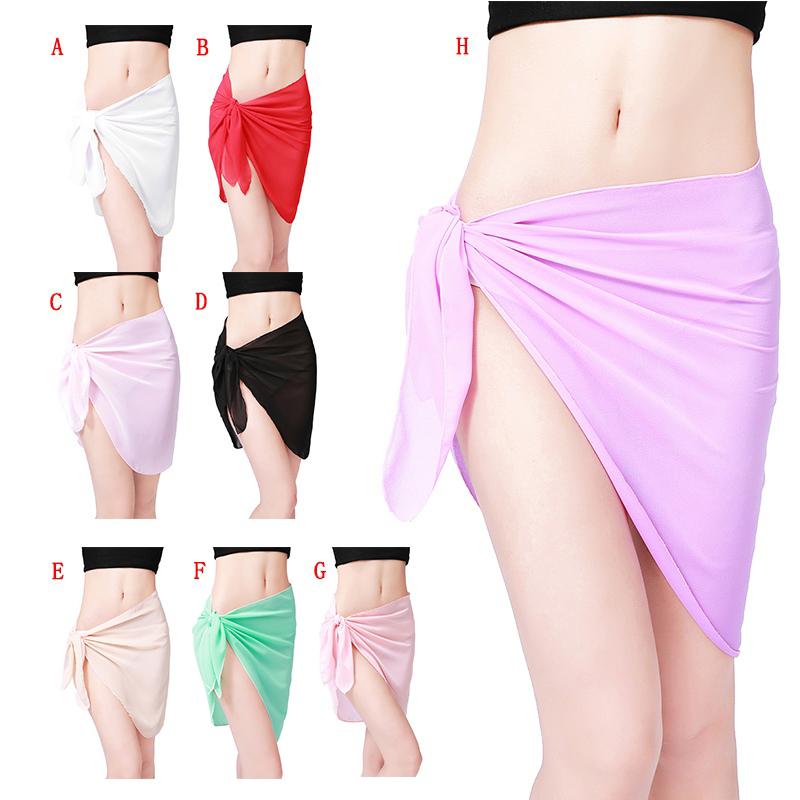 470e418303 Swimwear Wrap Bikini Cover Up Solid Sexy Sarong Beach Swimsuit Sheer Pareo  Women 2 2 of 9 ...