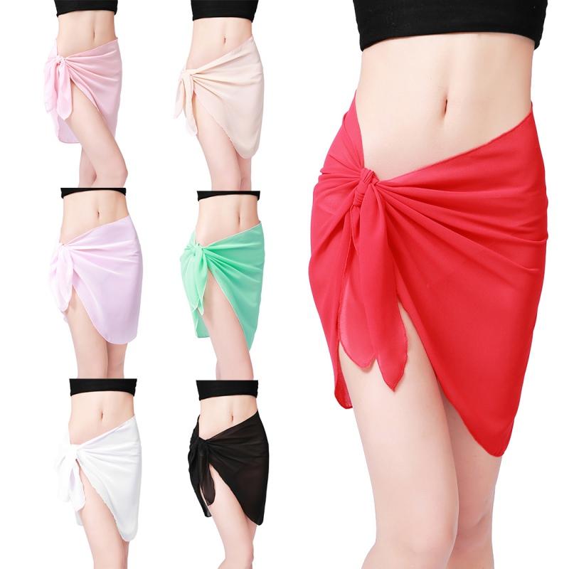 54145503b7 Swimwear Wrap Bikini Cover Up Solid Sexy Sarong Beach Swimsuit Sheer Pareo  Women