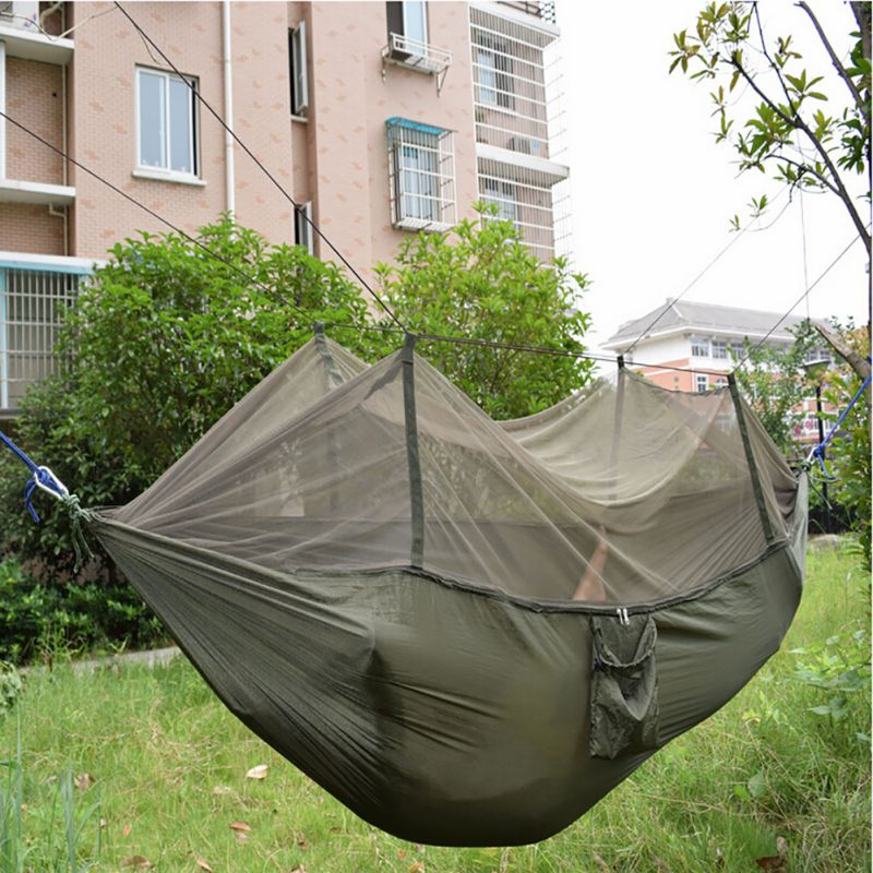 Outdoor camping hammock with mosquito net sleeping swing for Net hammock bed